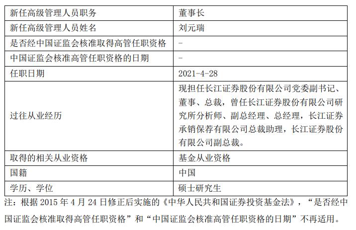 """长江证券""""80后""""总裁刘元瑞出任长信基金董事长"""