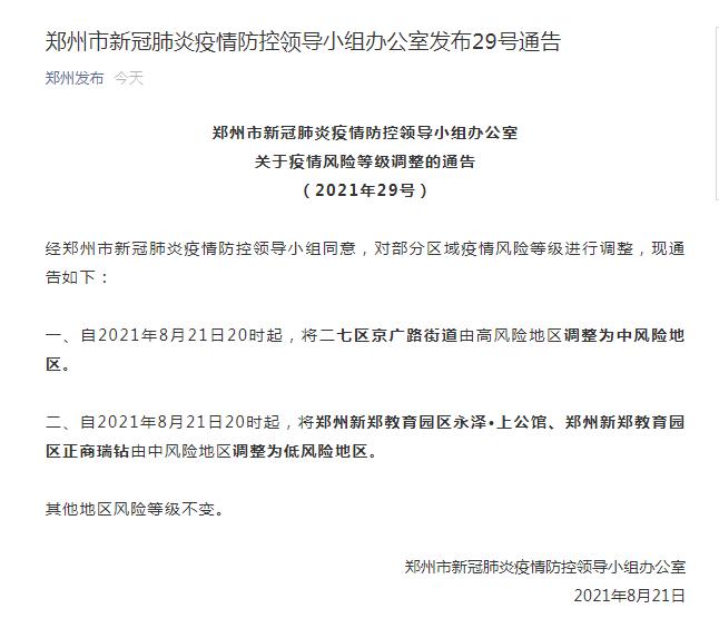 《刚刚!郑州发布29号通告,3地降级,高风险地区清零》