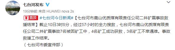 天游平台注册地址3名矿工不幸遇难!黑龙江七台河矿震事故救援结束,7名被困矿工中4人获救