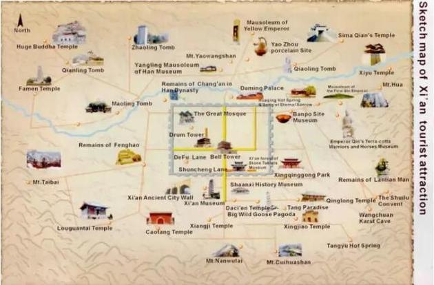 """""""国际版""""西安旅游手绘地图"""