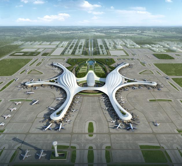 成都新机场首曝超高空全景图!飞行员4200米高空拍摄