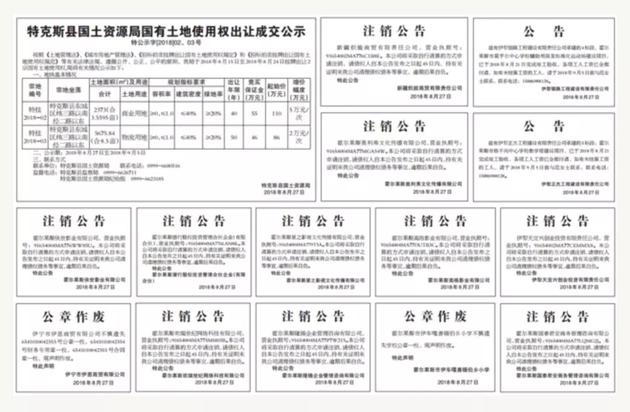 """因为申请注销的公司太多,《伊犁日报》8月27日仅一天就刊登了25则""""注销公告""""(图自中国经济网)"""