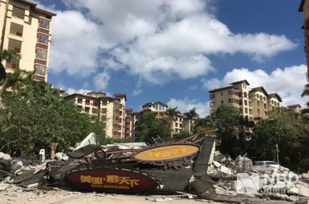 美亚·榕天下小区已被拆除的建筑物。