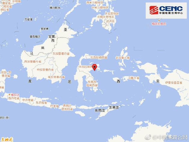 印尼苏拉威西岛附近海域发生6.8级地震,震源深度10千米