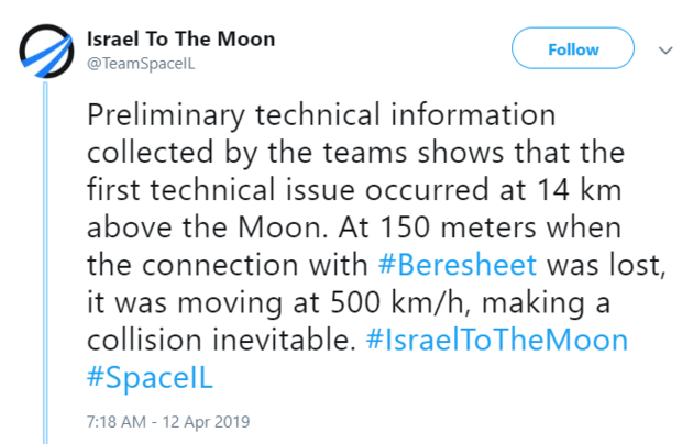 功亏一篑:耗资1亿美元的以色列飞船在登月最后