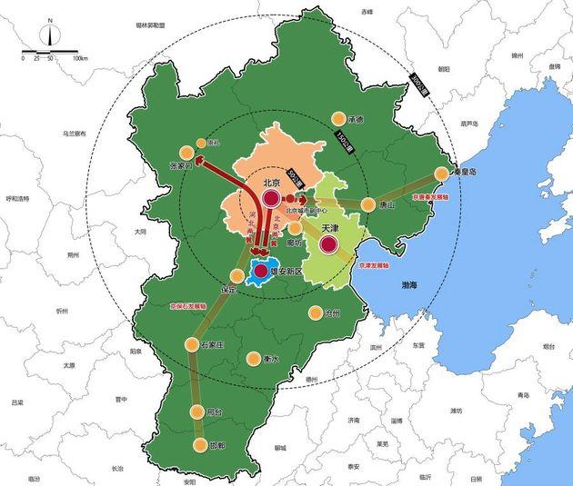 京津冀区域空间格局示意图 图片来源:中央纪委监委网站