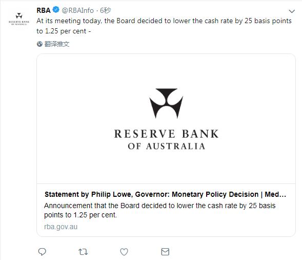 澳联储宣布降息25个基点  黄金成为了更加受欢迎的资产