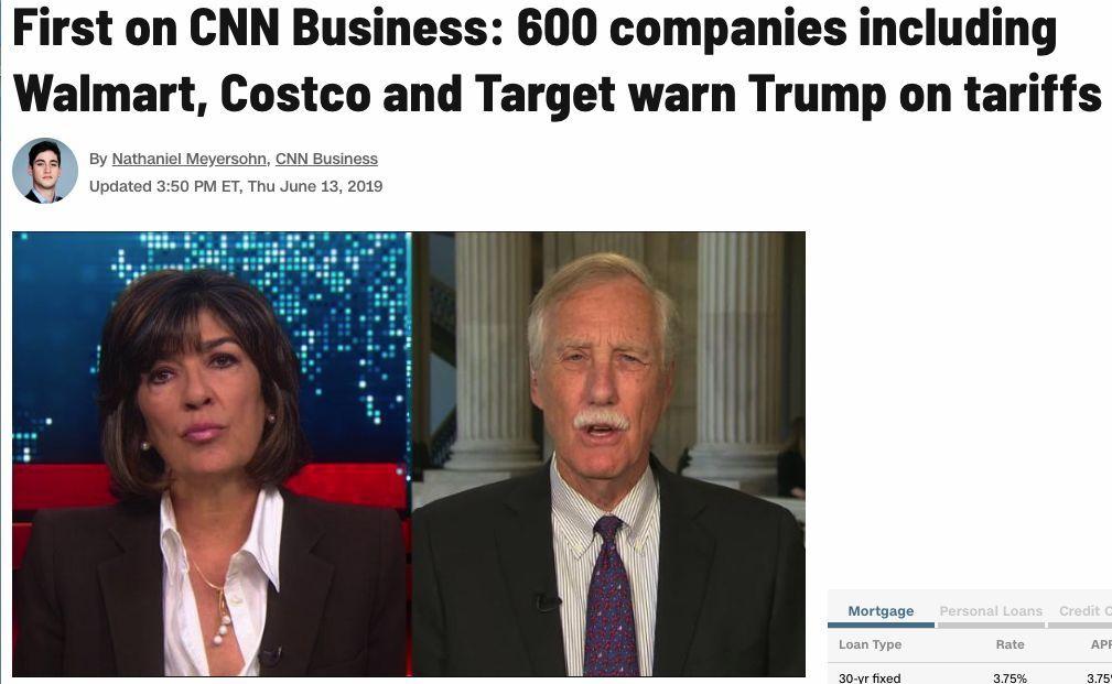 """""""额外的关税将对美国企业、农民、家庭和美国经济产生重大、负面和长期的影响。关税是由美国公司直接缴纳的税,大部分增加的成本都将转嫁到美国消费者身上。""""在代表制造商、零售商、石油和天然气公司以及其他行业的500多家公司和140多个团体于美东时间本周四签署的致特朗普的联名信中,这些企业和协会如是说。"""