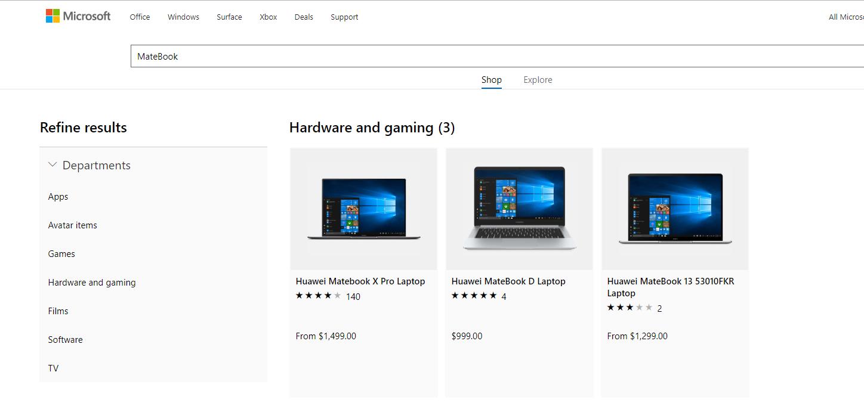 微软网站光复销售华为笔记本电脑