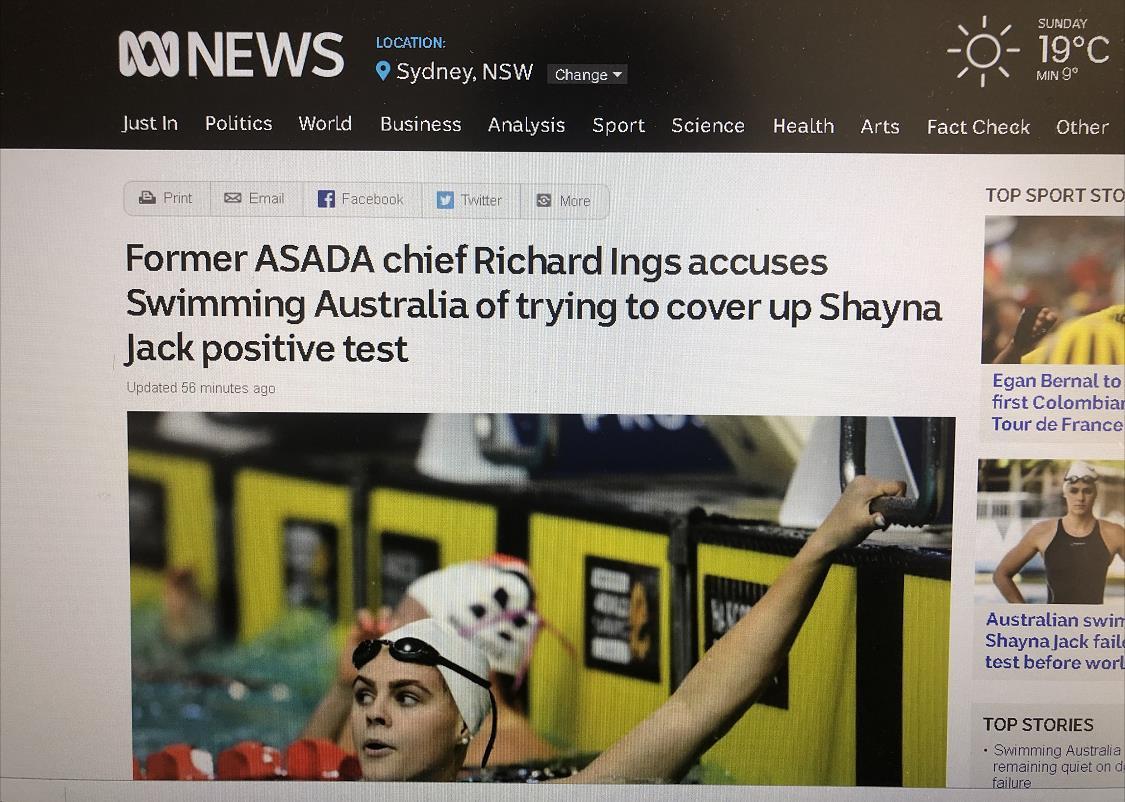 澳大利亚游泳选手因兴奋剂退赛 媒体和专业人士