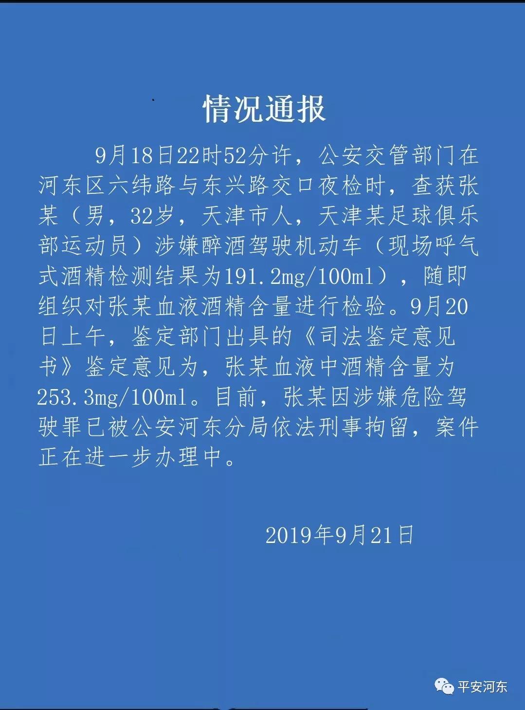 国足门将张鹭醉驾已被天津警方刑拘 血液酒精数值高达253.3