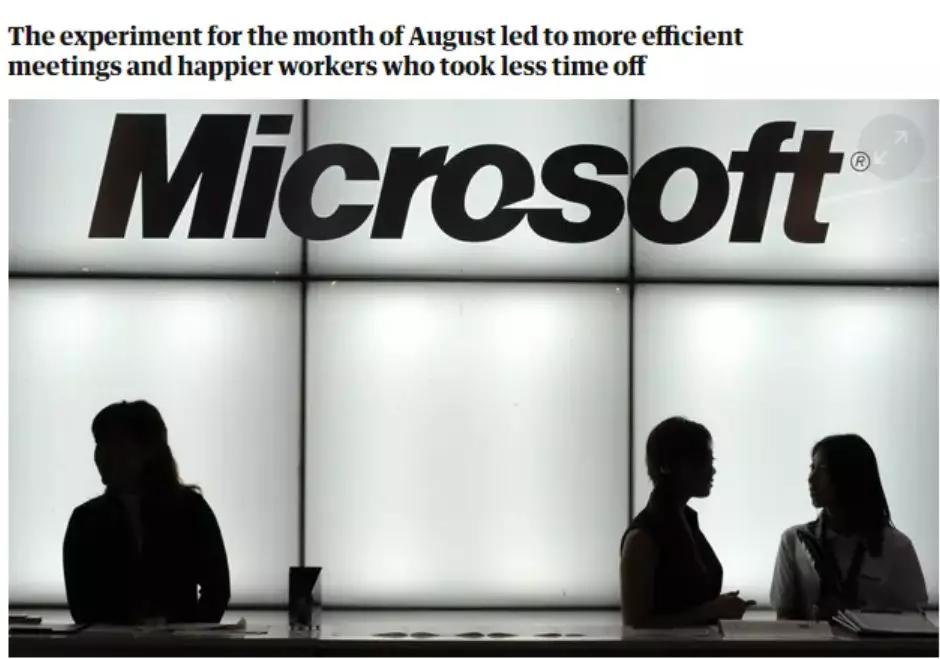 一周只上4天班是什么体验?微软员工发现:效率提高了40%(图1)