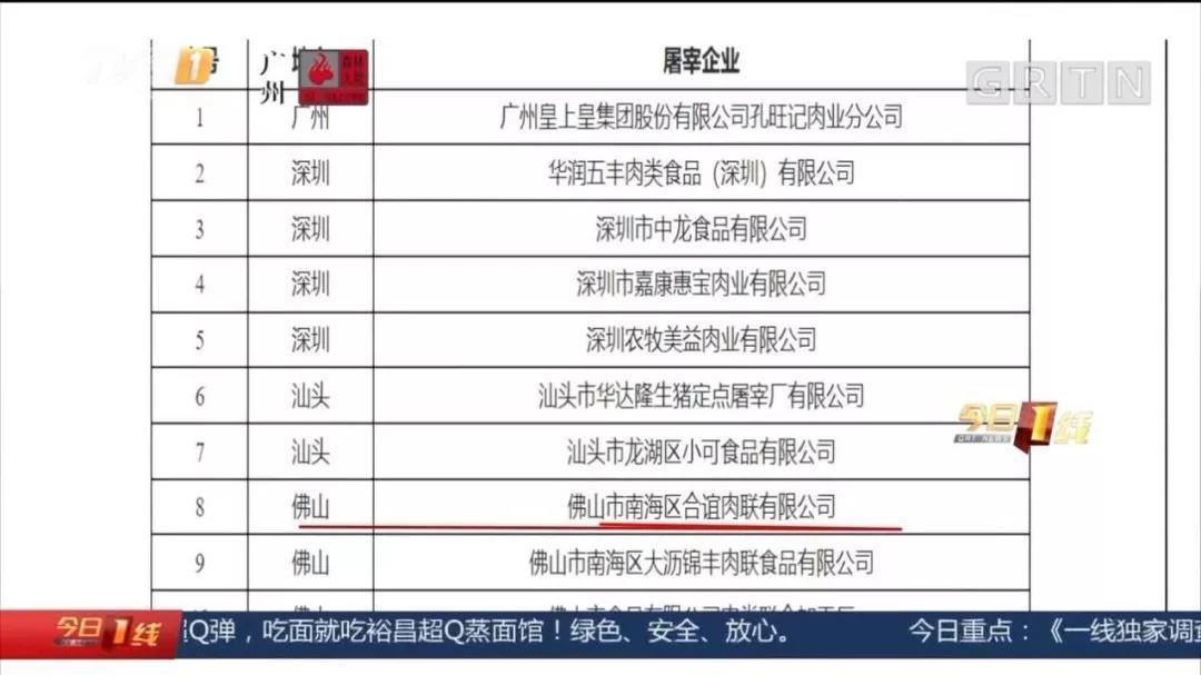 相关资料显示,今年九月份,广东省农业农村厅关于2019年第一批省级生猪屠宰标准化企业名单的公示中,佛山共有三家肉联厂上榜,其中,暗访中涉及的南海合谊肉联有限公司就名列第八位。