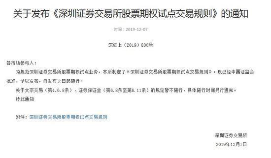深交所发布关于《深圳证券交易所股票期权试点交易规则》的通知