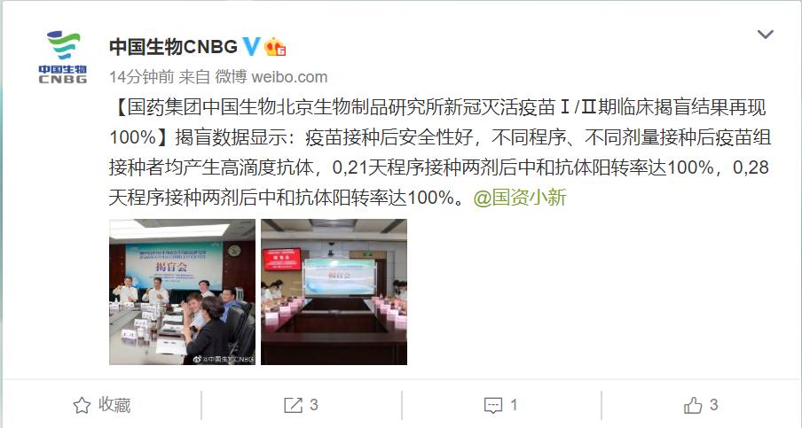 重磅!中国生物新冠灭活疫苗Ⅰ/Ⅱ期临床揭盲结果再现100%