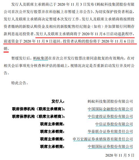 发行人及联席主承销商将于11月6日起动退钱程序流程
