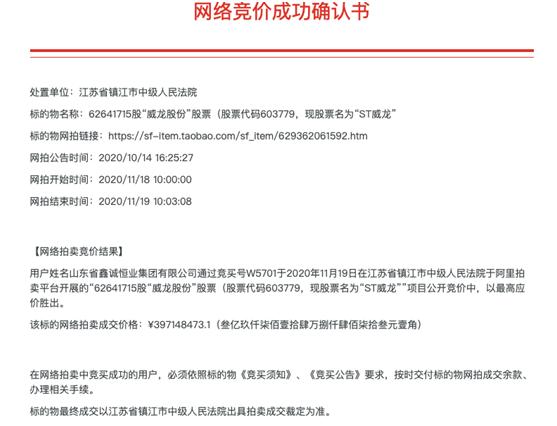 ST威龙股权拍卖再落槌:当地国资现身 创始人王珍海或失实控权
