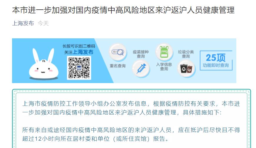 《【摩登2平台网址】注意了!上海最新政策:对这类人员进行两次核酸检测,14天集中隔离或社区健康管理》