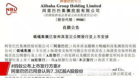 蚂蚁公布上市发行方案,阿里巴巴已同意认购7.3亿股A股