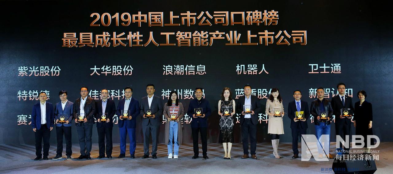 2019年中国上市公司口碑榜 最具成长性人工智能产业上市公司