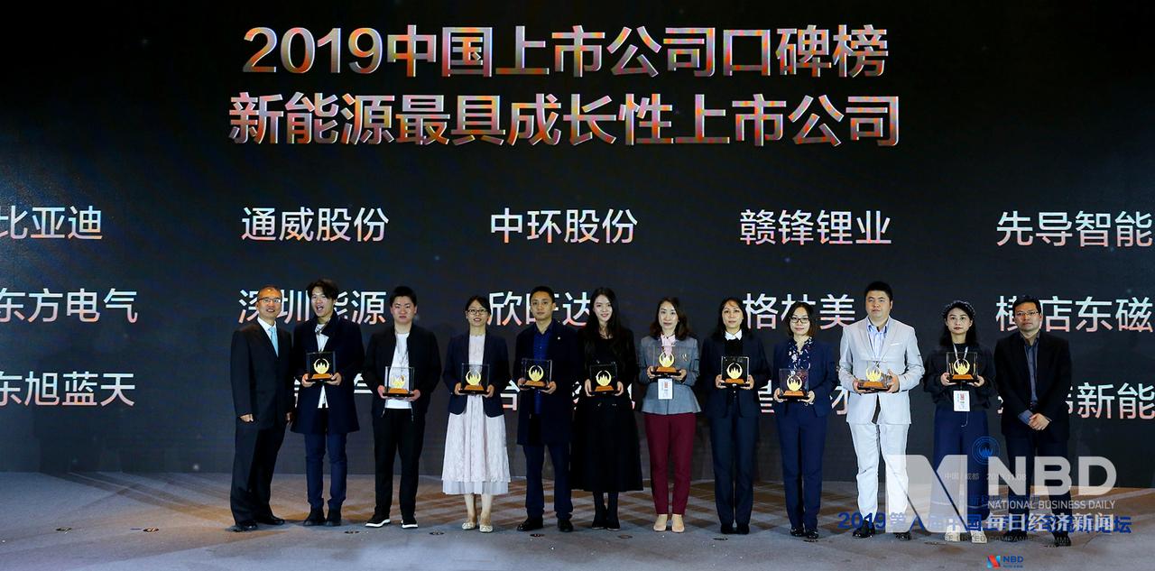 2019年中国上市公司口碑榜 最具新能源成长性上市公司